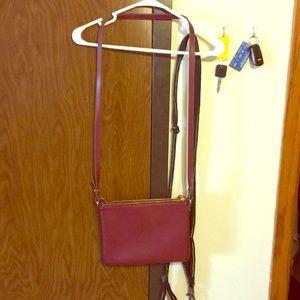 Maroon pleather cross body bag